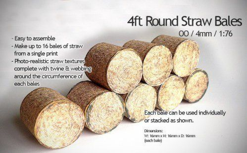AX004-OO Straw Bales Round type OO/4mm/1:76