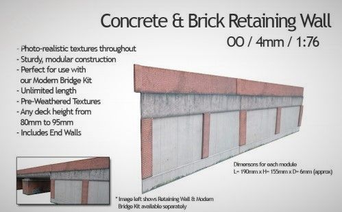 Kx036-OO Concrete & Brick Retaining Wall – OO / 4mm / 1:76