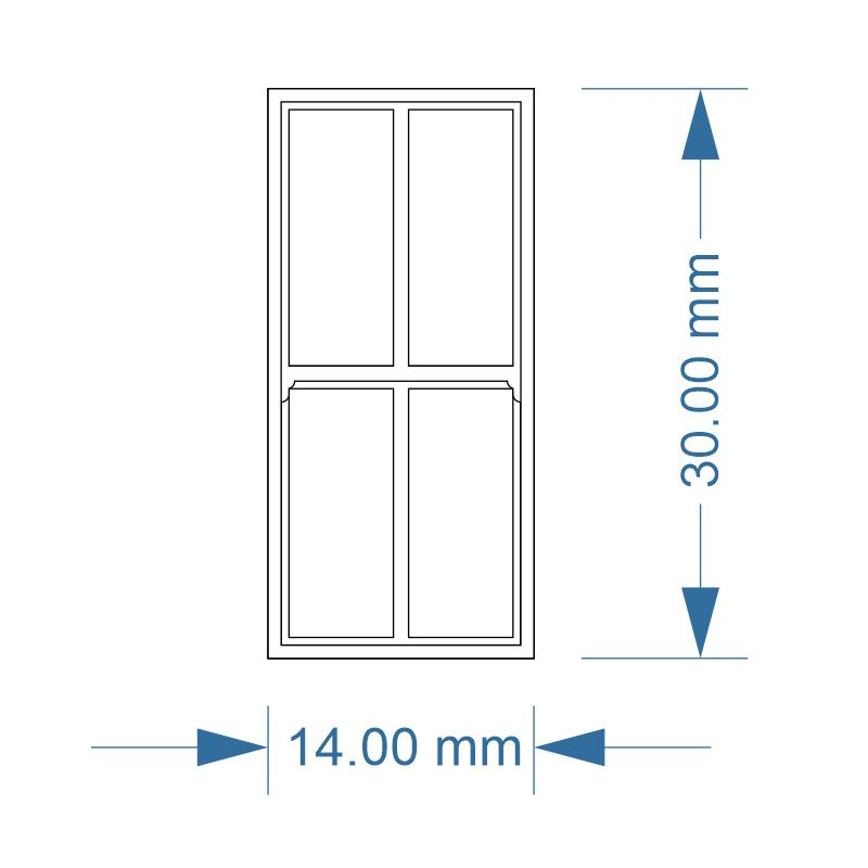 LX288-OO Large 4 Pane Sash Windows (Pack of 7) - OO/4mm/1:76