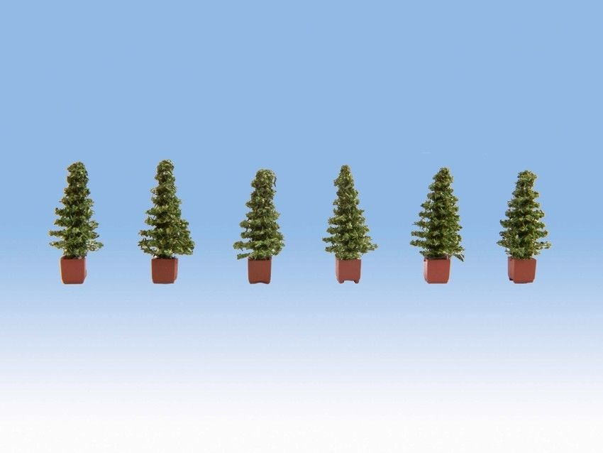 Noch 14021 Decorative Conifers In Pots (Pack of 6) - OO / HO
