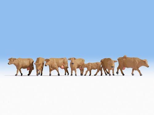 Noch 15727 Brown Cows (Pack Of 7) (OO/HO)