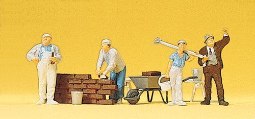Preiser 10251 Bricklayers With Part Built Wall & Accessories OO/HO