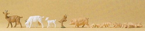 Preiser 14162 Goats & Pigs (Pack of 10) OO/HO