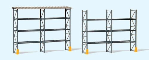 Preiser 17125 Industrial Pallet Racking for 48 Euro Pallets with Roof OO/HO
