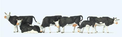 Preiser 73013 Black & White Cows (Pack of 6) OO/4mm/1:76