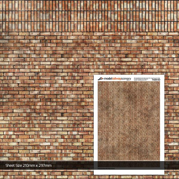 TX005-OO Industrial Brick With Black Mortar Paper (Pack of 5) OO/4mm/1:76