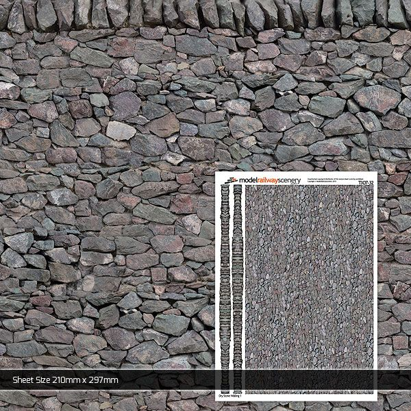 TX007-32 Dry Stone Wall 1 Paper (Pack of 5) 1:32