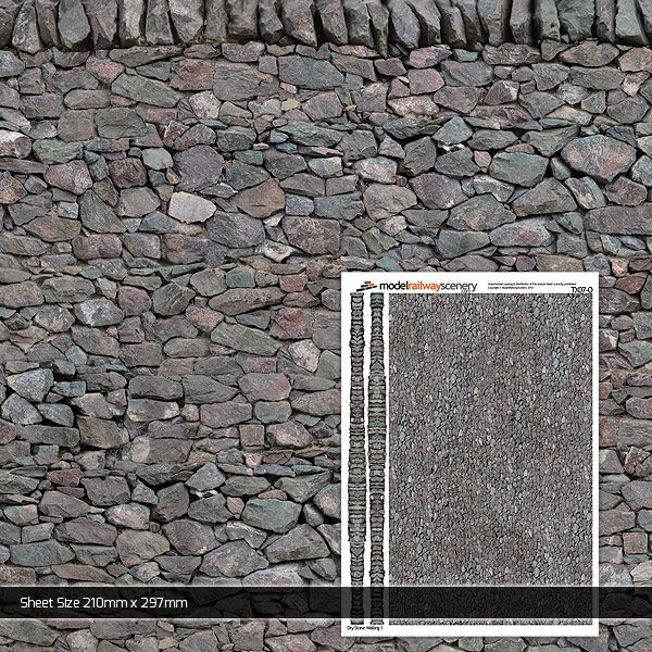 TX007-O Dry Stone Wall 1 Paper (Pack of 5) O/7mm/1:43