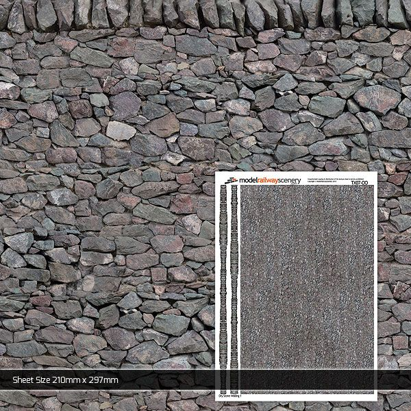 TX007-OO Dry Stone Wall 1 Paper (Pack of 5) OO/4mm/1:76