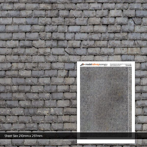 TX014-OO Weathered Slate Roofing (Pack of 5) OO/4mm/1:76