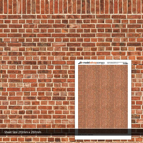 TX108-O Old Red Brown Brick (Pack of 5) O/7mm/1:43