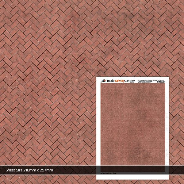 TX132-OO Red Herringbone Block Paving (Pack of 5) OO/4mm/1:76