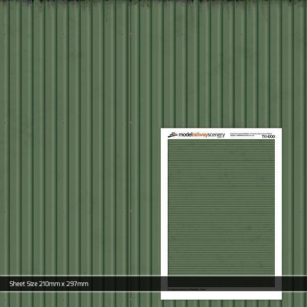 TX140-OO Corrugated Industrial Unit Panelling Green (Pack of 5) OO/4mm/1:76