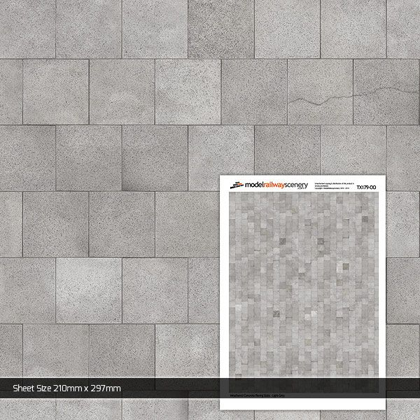 TX179-OO Weathered Light Grey Paving Slabs (2ft x 2ft) (Pack of 5) OO/4mm/1:76
