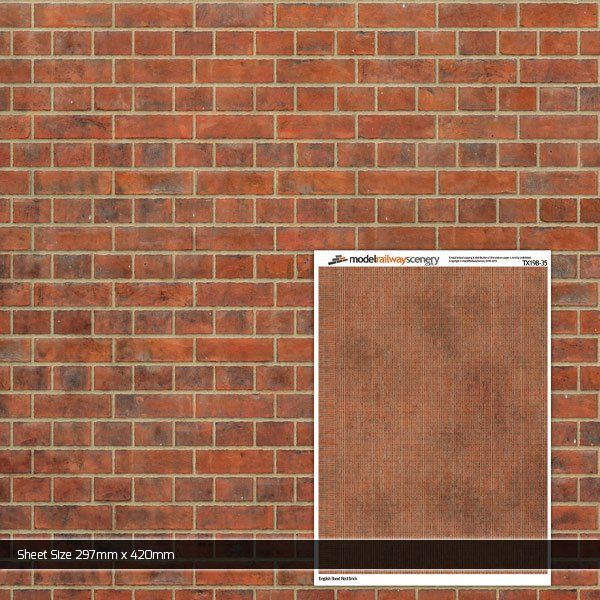 TX198-35 English Bond Red Brick Paper (Pack of 1) 1:35