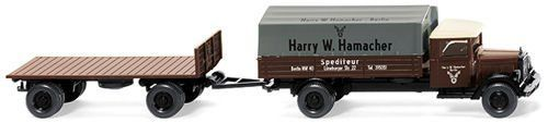 Wiking 084201 MB L2500 Platform Tractor-Trailer Combo Spedition Hamacher