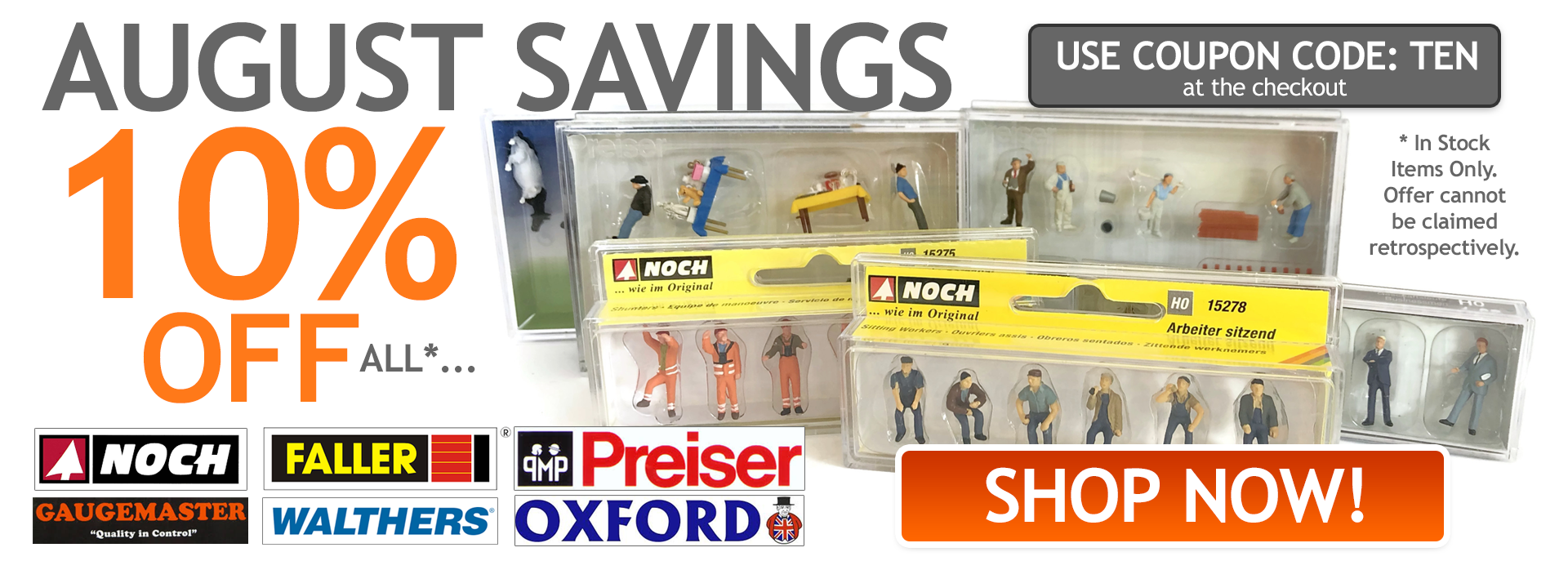 Save 10% on all Noch, Preiser & Faller Products This August!